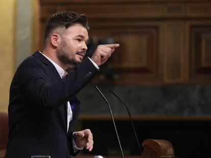 El portavoz de ERC, Gabriel Rufián, en el Congreso.