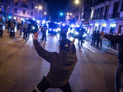 Protestas en Barcelona contra la detención del rapero Pablo Hasél.