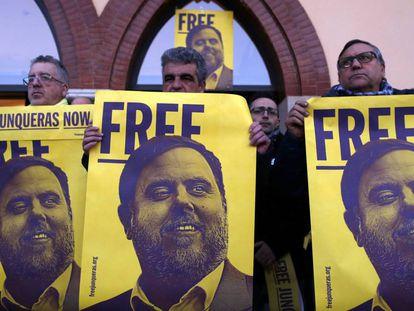 Manifestación para protestar por los cien días del encarcelamiento de Oriol Junqueras.