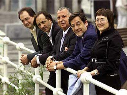 De izquierda a derecha, Pedro Ugarte, Javier Riaño, Santiago Díez, Juan Luis Ibarra y María Ángeles Egaña.