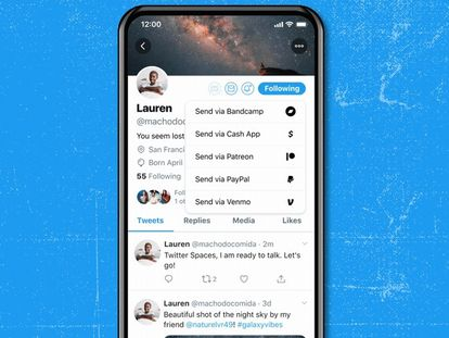 Opciones para enviar una propia a través de Tip Jar en el perfil de un usuario de la red social.
