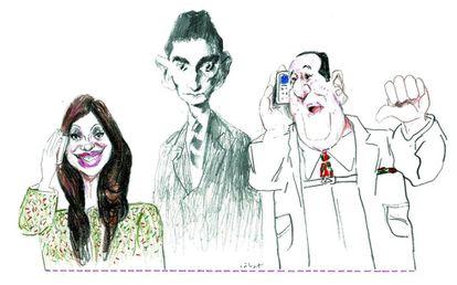 Dibujo para 'Clarín' de Sábat (1933-2018), con Cristina Fernández de Kirchner, Kafka y Perón.