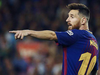Leo Messi durante el partido ante el Málaga CF.