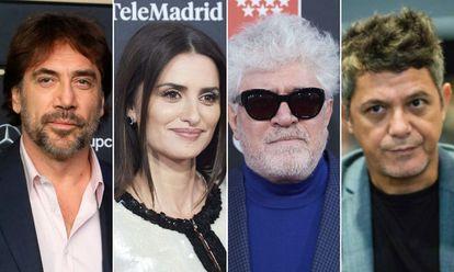 Javier Bardem, Penélope Cruz, Pedro Almodóvar y Alejandro Sanz.