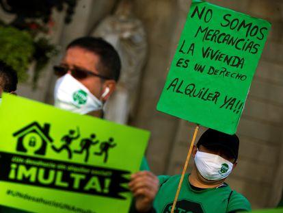 Protesta en demanda de alquileres sociales, el pasado noviembre en Barcelona.