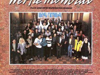 Portada original del disco de USA for Africa 'We are the world'.