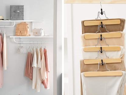 Una selección de los mejores lotes de perchas para organizar el armario y ahorrar espacio.