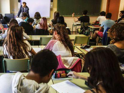 Aula de Bachillerato de un instituto madrileño.