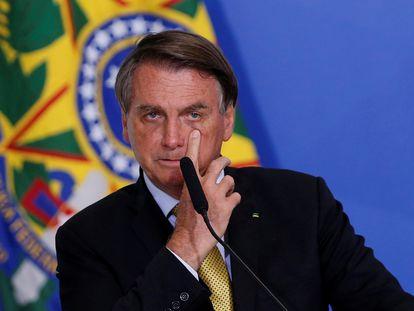 Jair Bolsonaro, presidente de Brasil, en una conferencia de prensa en Brasilia, el 29 de junio.
