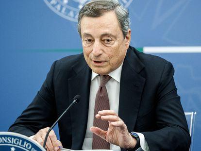 El primer ministro italiano, Mario Draghi, durante la rueda de prensa en Roma, este martes.