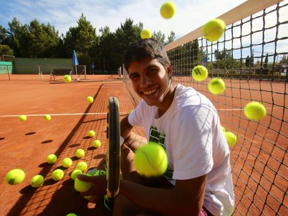 Carlos Alcaraz, durante un entrenamiento.