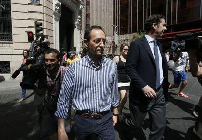 El consejero de Gowex, Francisco Manuel Martínez Marugán, tras declarar ante el juez Santiago Pedraz.