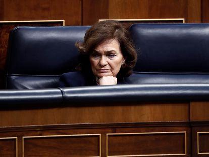 Carmen Calvo, en una imagen tomada el pasado 18 de marzo en el Congreso de los Diputados.