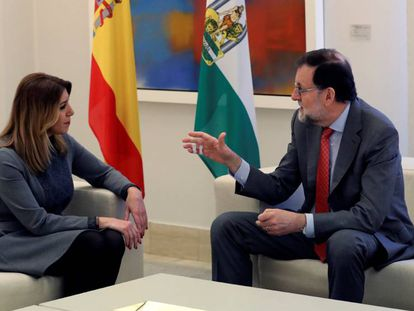 Reunión del presidente del Gobierno, Mariano Rajoy, con la presidenta de la Junta de Andalucía, Susana Díaz, para hablar de la reforma del modelo de financiación autonómica.
