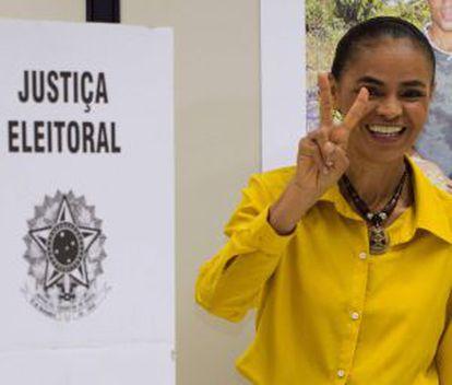 Marina Silva tras acudir a votar.