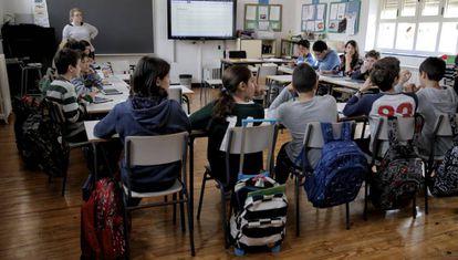 Alumnos de un colegio público en Madrid.