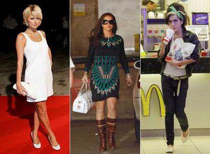 De izquierda a derecha, Paris Hilton, Britney Spears y Amy Winehouse.