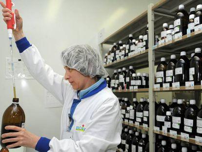 Un trabajador de los laboratorios Boiron en Brest, en el oeste francés, en mayo de  2016.