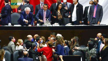 Una sesión ordinaria de la Cámara de Diputados durante la discusión de la miscelánea fiscal 2022.