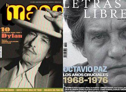 Portadas de las revistas culturales <i>La Mano</i> (Argentina), <i>Letras Libres</i> (México-España).