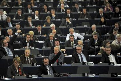 Votación en el Parlamento de Estrasburgo en febrero de 2011.