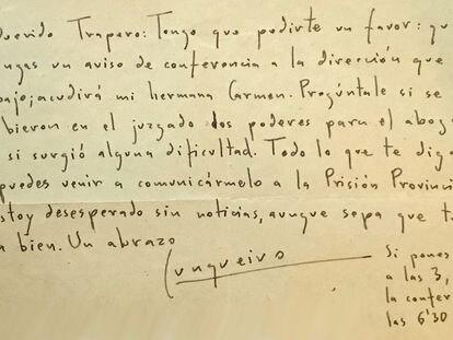 Carta inédita de Cunqueiro escrita desde la Prisión Provincial de Lugo.