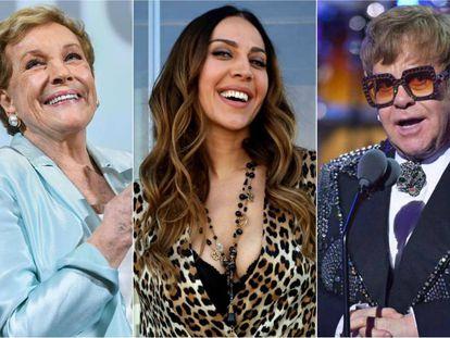 Julie Andrews, Mónica Naranjo y Elton John.
