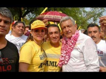 López Obrador junto con Abarca y Pineda en una foto sin fechar