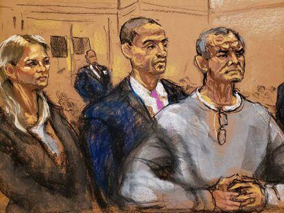 Genaro García Luna junto a sus abogados durante la vista en la Corte de Nueva York