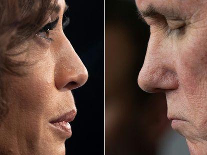 La candidata demócrata Kamala Harris y el vicepresidente Mike Pence.