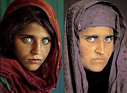A la izquierda, Sharbat Gula, fotografiada en 1984 por Steve McCurry. A la derecha, una imagen de enero.