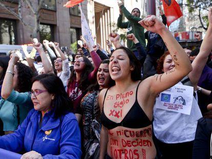 Manifestación feminista en Chile.