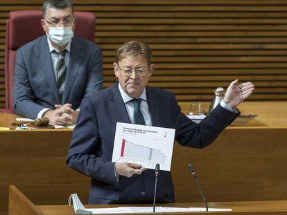 Ximo Puig, en las Cortes valencianas.