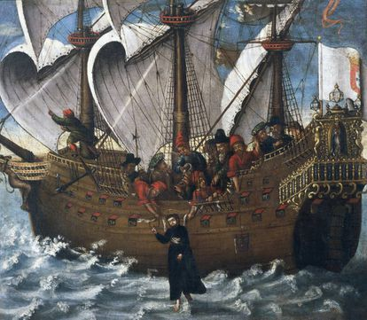 Pintura del siglo XVII del Museo de la Marina de Lisboa que recrea el milagro de san Francisco Javier en el Santa Cruz; en la ruta entre Macao y Japón.