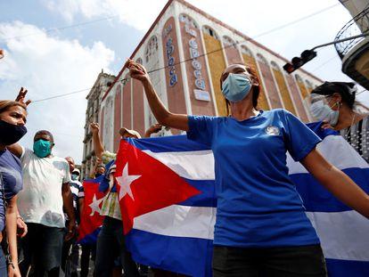 Protestas contra el Gobierno cubano en La Habana, el pasado domingo 11 de julio.