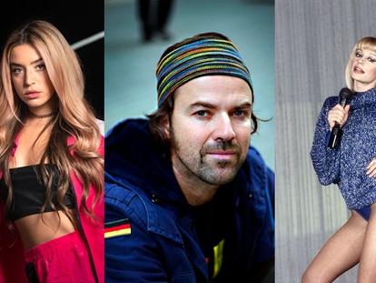 Los músicos Lola Índigo, Pau Donés y Raffaella Carrá. En vídeo, ¿sigue viva la canción del verano?