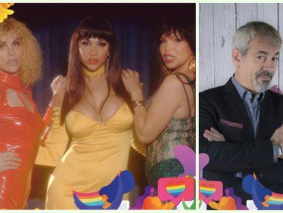 Las actrices de la serie 'Veneno' Jedet, Isabel Torres y Daniela de Santiago y el presentador Carlos Sobera, pregoneros del Orgullo LGTBI+ de Madrid 2020.