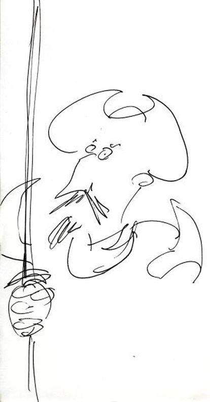 Dibujo realizado para EL PAÍS por Terry Gilliam con su Quijote idílico.