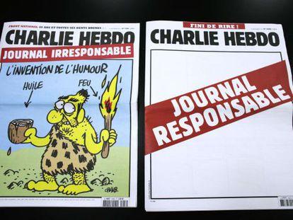 Dos portadas de la revista francesa 'Charlie Hebdo'.