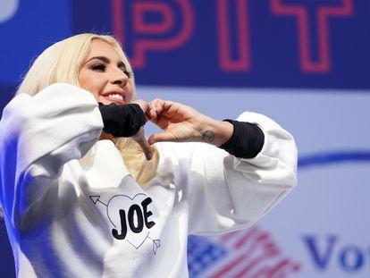 Lady Gaga, en el cierre de campaña electoral de Joe Biden en Pittsburgh, Pensilvania, el 2 de noviembre.