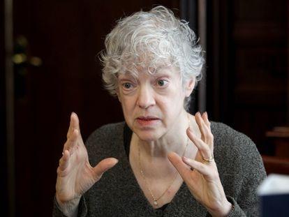La psicóloga estadounidense Susan Fiske, en un momento de la entrevista en Bilbao.