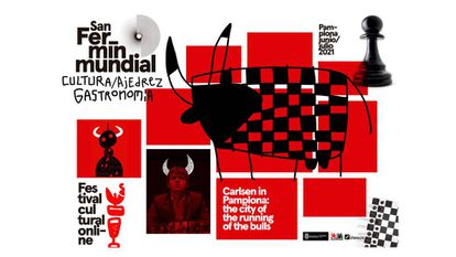 Cartel anunciador de la presencia de Carlsen en Pamplona