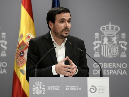El ministro de Consumo, Alberto Garzón, durante una comparecencia de prensa.