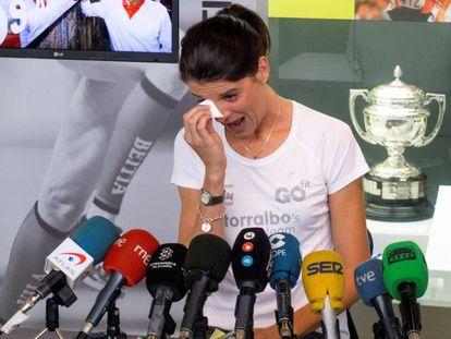 Ruth Beitia, durante el anuncio de su retirada de la alta competición.