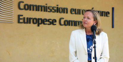 La vicepresidenta económica, Nadia Calviño, durante una visita a la Comisión Europea, en Bruselas.