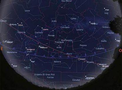 Mapa para la primera parte de la noche obtenido con el programa Stellarium y calculado para el día 15 de octubre de madrugada.