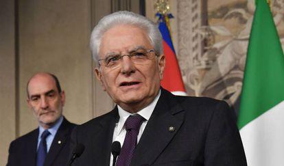 El presidente de Italia, Sergio Mattarella, este lunes en el Palacio del Quirinal (Roma).