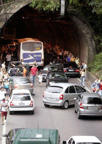 El túnel que llega a la Rocinha, tras un tiroteo el sábado.