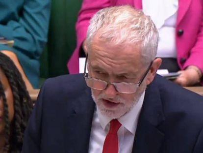 El líder laborista, Jeremy Corbyn, en el Parlamento británico el 17 de julio.