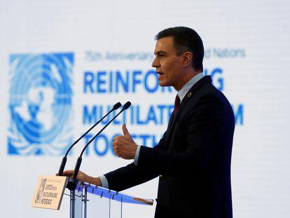 Pedro Sánchez durante su intervención ayer en Madrid para conmemorar el 75 aniversario de la fundación de la ONU.